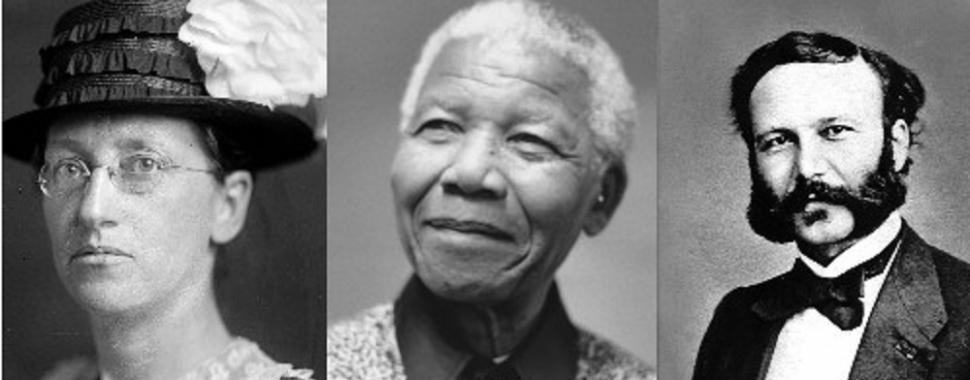 Emily Greene Balch, Nelson Mandela e Henri Dunant foram alguns dos premiados. Fotos: domínio público/Creative Commons